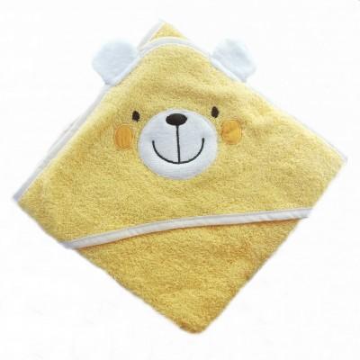 Osuška froté DĚTSKÁ S KAPUCÍ 80x80 žlutý medvídek
