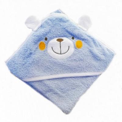Osuška froté DĚTSKÁ S KAPUCÍ 80x80 modrý medvídek