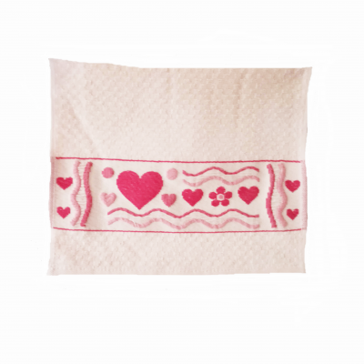 Ručník FROTÉ 30x45 s ozdobnou bordúrou růžový se srdíčky