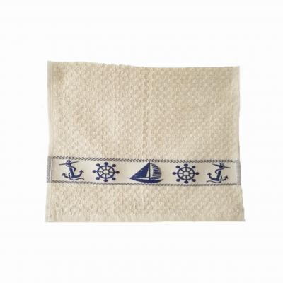 Ručník FROTÉ 30x45 s ozdobnou bordúrou béžový námořnický