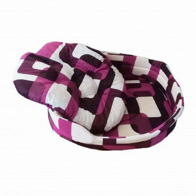 Pelíšek pro psa oválný 73x65 RŮŽOVÝ VZOR s polštářem