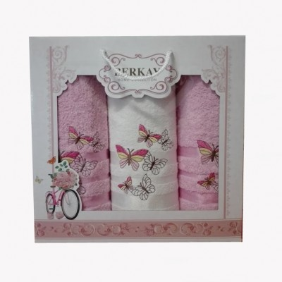 3-SET BERKAY 1x osuška 70x140 + 2x ručníky 50x90 růžový
