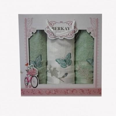 3-SET BERKAY 1x osuška 70x140 + 2x ručníky 50x90 zelený