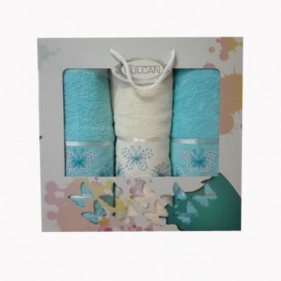 3-SET BERKAY 1x osuška 70x140 + 2x ručníky 50x90 modrý