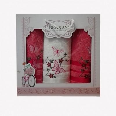 3-SET BERKAY 1x osuška 70x140 + 2x ručníky 50x90 tmavě růžový