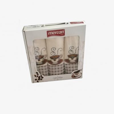 Kuchyňské utěrky 3-SET Mercan Lux 50x70 COFFEE